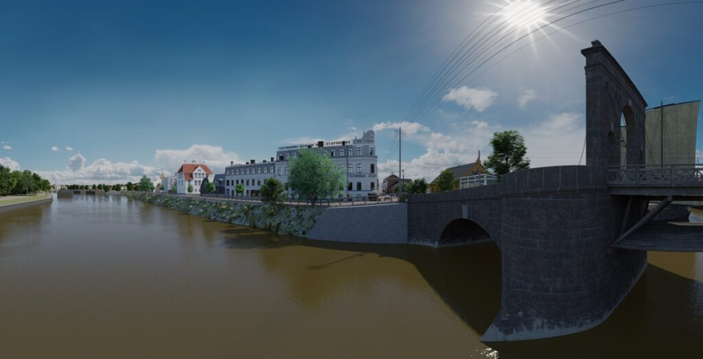Vaade VR-is Kivisillale ja hotell Bellevuele. 3D mudel BLUERAY loodud